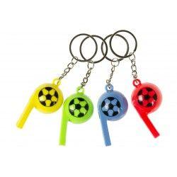 Voetbal sleutelhanger fluitje