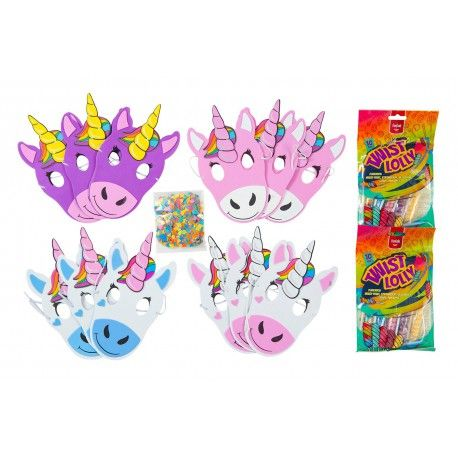 Unicorn Maskers Traktatie pakket - 12 stuks